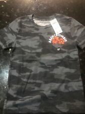 Abercrombie Fitch Kids Graphic Sleeve Tee A&F Boys Camo Surf T-Shirt New 5/6 S