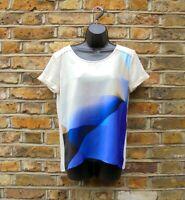 CALVIN KLEIN Women Cream & Purple Short Sleeve T-Shirt Blouse Size S UK 12-14