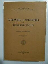 Carboneria e Massoneria del Risorgimento italiano_Raro saggio di critica storica
