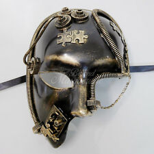 Steampunk Half Face Costume Theater Masquerade Mask for Men - Metallic Gold