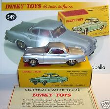 DINKY TOYS ATLAS COUPE BORGWARD ISABELLA GRIS METAL REF 549 1/43 IN BOX