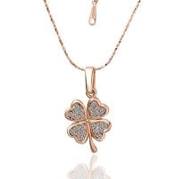 18K Rose Gold GP Crystal Four Leaf Clover Necklace N61