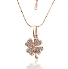 18K Rose Gold GP Crystal Four Leaf Clover Necklace N61
