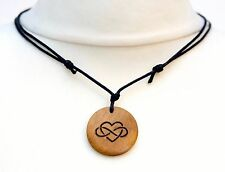Polyamory Necklace Polyamorous Symbol Pendant Choker Jewellery Gift Wood Burned