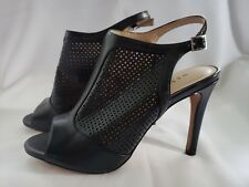 6f0b3d54f METAPHOR Black Leather Perfed Open Toe Slingback Ankle Shoes Boots 7 M NICE!