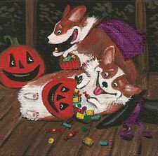 4x4 PRINT OF PAINTING HALLOWEEN PEMBROKE WELSH CORGI RYTA PUMPKIN FOLK ART JOL