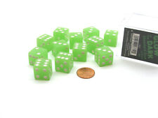 Case with 12 16mm Glow in the Dark Dice - Lime Color with White Pips