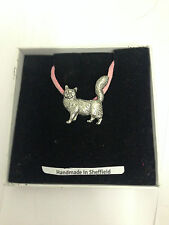 Maine Coone Cat PP-C07 Pewter Pendant on a PINK CORD Necklace