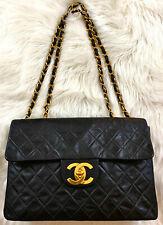 "CHANEL 13.5"" Maxi Jumbo XL Black Quilted Lambskin Leather Shoulder Bag Handbag"