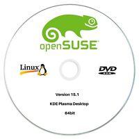 OpenSUSE 15.1 KDE Plasma Desktop 64bit Live/Install Bootable DVD Linux OS