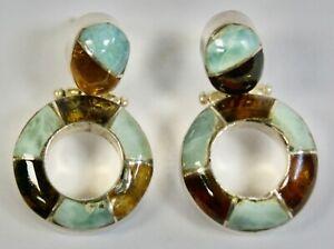 Striking Pair 925 Silver Drop Earrings, Amber & Larimar, Pierced Ears