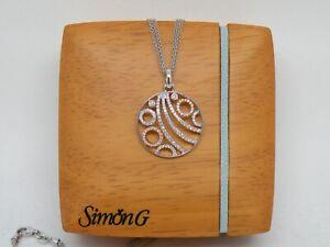 Authentic Simon G jewelry 18k 2 tone Gold and Diamond pendant  Vintage  NEW