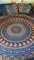 Indian Elephant Mandala Bedding Set Cotton Bed Cover Boho Tapestry Queen / King