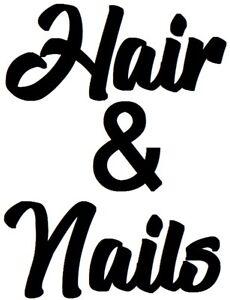 hair & nails salon beauty shop window sign vinyl sticker wall art decal buisness