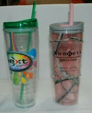 Lot of 2 24 oz Vacuum Insulated Tumbler Travel Bottle Straw Ice Cold Beverages