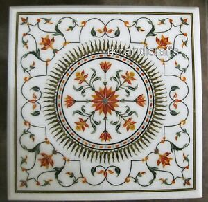 30 Inches Marble Coffee Table Top Inlay Carnelian Stone Floral Art Dinette Table