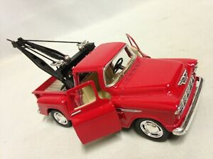 """1955 Chevy 3100 Stepside Tow Truck 5.5"""" DieCast 1:32 PullBack Kinsmart Toy Red"""