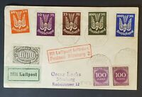 1923 Munich to Nuremberg Germany Scott C3 - C7 Inflation Stamps Air Mail Cover