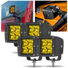 4X LED Work Light Bar Amber Spot Cube Pod Fog Lamp Offroad 4WD SUV Truck Driving