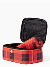 KATE SPADE COBBLESTONE PARK LARGE COLIN RED PLAID TRAIN CASE COSMETIC CASE SET