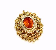 Vintage Gold Tone Seed Pearl Orange Crystal Pin Brooch