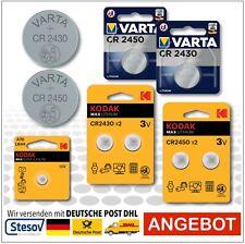 Kodak / varta 1,5 -3V LR44, CR2430, CR2450 dans Blister / Masse Piles Bouton