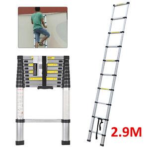2.9M Aluminum Extension Ladder Multi-Purpose Portable Telescopic Ladder UK
