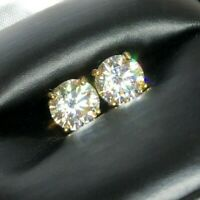 Certified D Color VVS1 Moissanite Solitaire Stud Earrings Screwback