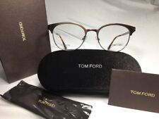 New Tom Ford TF 5382 009 Brown & Silver Titanium Eyeglasses 50mm w/Case In Box