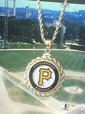 MLB PITTSBURGH PIRATES NECKLACE w MATCHING STERLING SILVER ROPE BEZEL & CHAIN