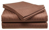 Twin Size Coffee 400 Thread Count 100% Cotton Sateen Dobby Stripe Sheet Set