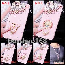 Bling Luxury Diamonds Glitter Ring Holder stand Soft Cover Case & neck strap #22
