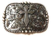 REC3 ✖ WESTERN STEER Cross Cowboy Rodeo Style ✖ Belt Buckle Buck ✖ Silver color