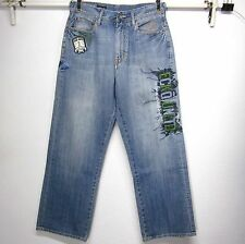 ECKO UNLTD 1972 VNTG MEN'S W32 L31 BAGGY FIT 100% COTTON EMBROIDERED BLUE JEANS
