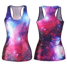 Galaxy Purple & Blue Digital Print Singlet Top Shirt