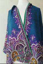 Etro, sciarpa / foulard nuovo in lana e seta