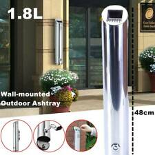 More details for outdoor cylinder ashtray wall mounted aluminum alloy cigarette ash bin lockable