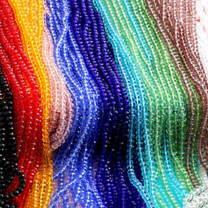 4/6/8/10mm Rondelle Faceted Crystal Glass Loose Beads DIY Findings D.fr