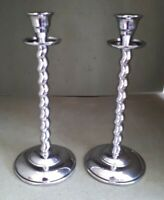 Vintage Barley Twist Chrome Plated Brass Candlesticks 27.5 cms