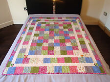 Handmade patchwork quilt (blue, green, red squares) 178x136 cm, bed, sofa cover
