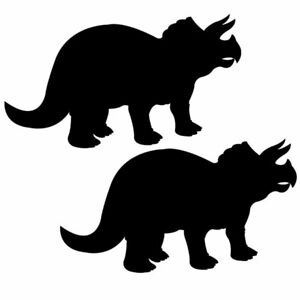 Qty 2 Dinosaur Triceratops Wall Sticker Kids Decal Pack C Any Colour
