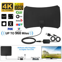 Indoor Digital TV Antenna Aerial Signal Amplified Thin HDTV HD Freeview 960 Mile