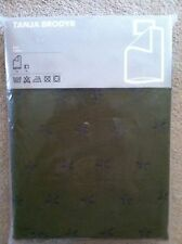 NEW Ikea Tanja Brodyr Twin Duvet Quilt Cover Set-RARE--Dark Olive Embroidered
