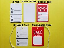 Large Price Tags Red White Blank 2 Part Retail Special Sale Coupon String Strung