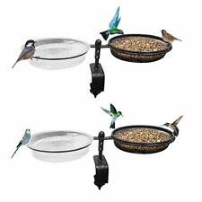 New listing Deck Mounted Bird Feeder Bird Bath Deck Bowl Spa and Seeds Detachable Place T.