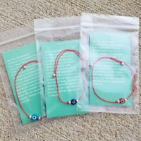 3 Evil Eye Red String Bracelets Kabbalah Protection Hamsa Lucky Mal de Ojo Gift