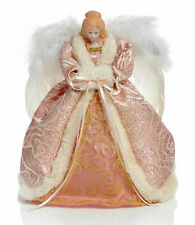 Rose Gold Blush Pink Christmas Tree Top Angel 30cm Feather Wings LED Lights