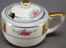 Nippon Hand Painted Pink Rose Gold Tulip & Blue Band Mustard Pot C. 1891 - 1921