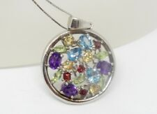 Multi gemstone pendant - incl topaz and amethyst - sterling silver