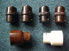 4 X VINTAGE BAYONET LAMP PLUGS & 2 X 5 AMP 2 PIN ADAPTER SOCKETS. WG EMPIRE ETC.